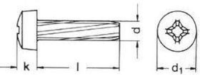 šroub M3x8 ZINEK půlkulatá hlava křížová drážka závitořezný DIN 7516A