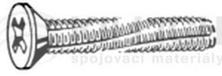 šroub M4x10 ZINEK zápustná hlava křížová drážka závitořezný DIN 7516D
