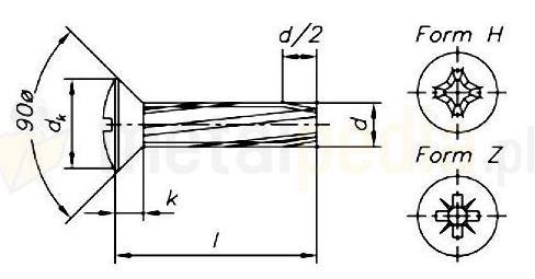 šroub M5x20 ZINEK čočková hlava křížová drážka závitořezný DIN 7516E