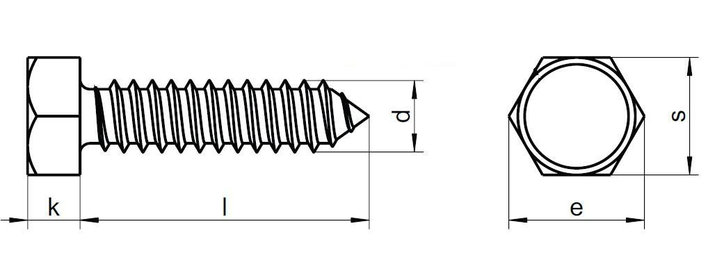 šroub do plechu 3.5x16 ZINEK 6 hranná hlava DIN 7976