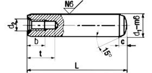 kolík 20x140 BEZ PÚ m6 kalený válcový+závit M10 DIN 7979D