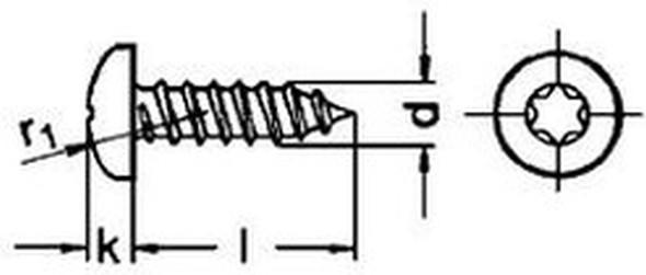 šroub do plechu 4.8x70 A2 NEREZ půlkulatá hlava TORX DIN 7981 C TX ISO 14585