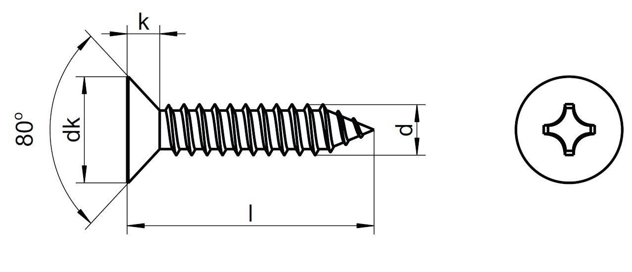 šroub do plechu 4.2x19 A2 NEREZ zápustná hlava křížová drážka (Philips) DIN 7982 C-H