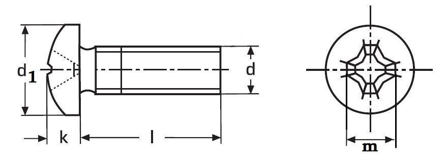 šroub M4x70 ZINEK 4.8 půlkulatá hlava křížová drážka PH DIN 7985