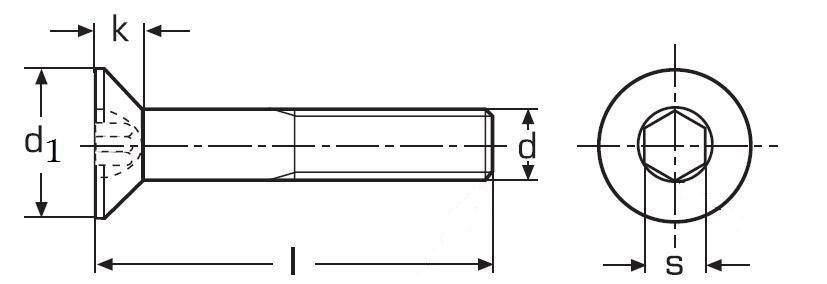 imbus M10x100 BEZ PÚ 10.9 zápustná hlava DIN 7991 - ISO 10642