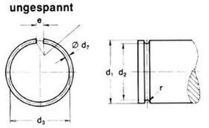 pojistný kroužek 7 A2 NEREZ drátěný na hřídel DIN 7993A