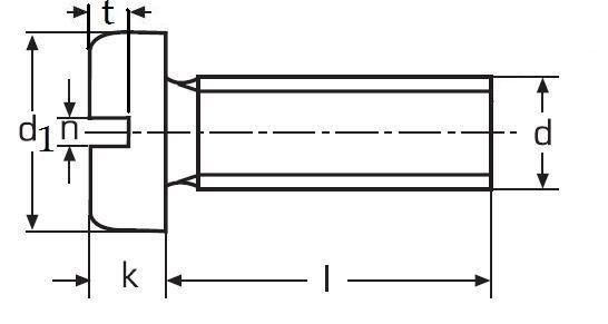 šroub M4x6 MOSAZ velká válcová hlava rovná drážka DIN 85
