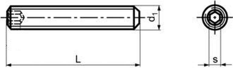 šroub M5x16 A2 NEREZ stavěcí + plochý DIN 913 ISO 4026