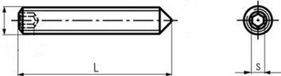 šroub M3x16 BEZ PÚ 45H stavěcí + hrot DIN 914 ISO 4027