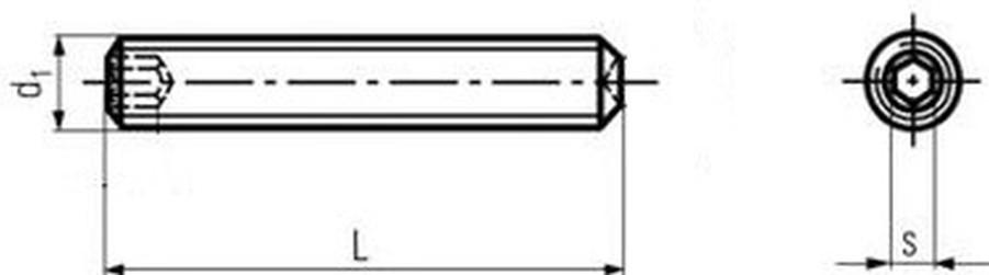 šroub M5x10 A4 NEREZ stavěcí + důlek DIN 916 ISO 4029