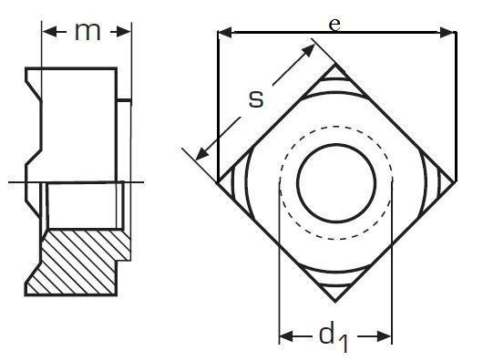 matice M10 BEZ PÚ čtyřhranná přivařovací DIN 928