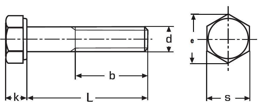 šroub M16x55 BEZ PÚ 8.8 šestihranný, částečný závit DIN 931