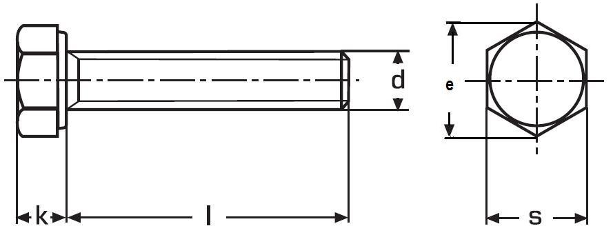 šroub M16x35 ZINEK 10.9 šestihranný, celý závit, DIN 933