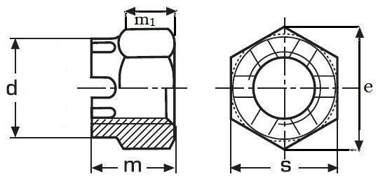 matice M12 BEZ PÚ /8/ korunková vysoká DIN 935