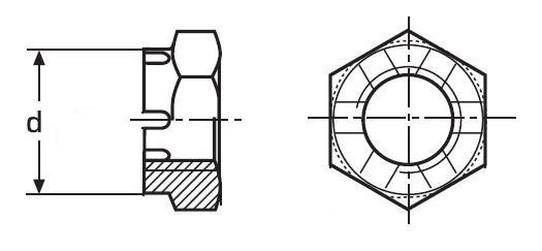 matice M10 BEZ PÚ 14H korunková nízká DIN 937