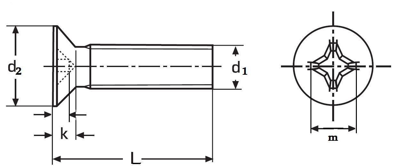 šroub M10x50 ZINEK 4.8 zápustná hlava křížová drážka DIN 965-PH