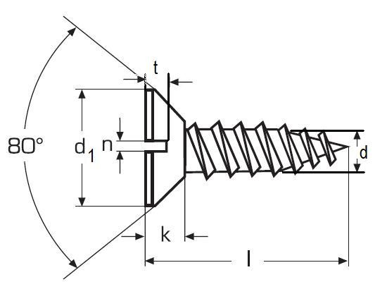 vrut 5.0x25 MOSAZ zápustná hlava rovná drážka DIN 97