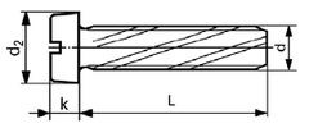 šroub M4x10 ZINEK závitořezný válcová hlava rovná drážka DIN 7513B