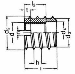 závitová vložka M5x10x12 BEZ PÚ do dřeva DIN 7965 A