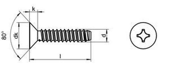 šroub do plechu 4.8x16 A2 NEREZ zápustná hlava F-PZ tupý DIN 7982