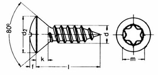 šroub do plechu 4.2x16 A2 NEREZ čočková hlava TORX DIN 7983 TX