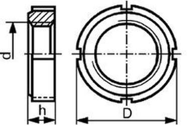 matice KM 10 M50x1.5 BEZ PÚ se 4 zářezy DIN 981