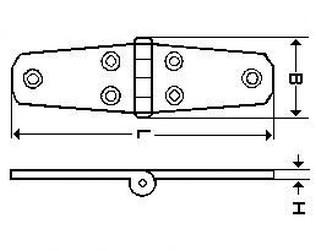 Dveřní pant 76x38x4.5 (35x30) A4 NEREZ - (závěs)