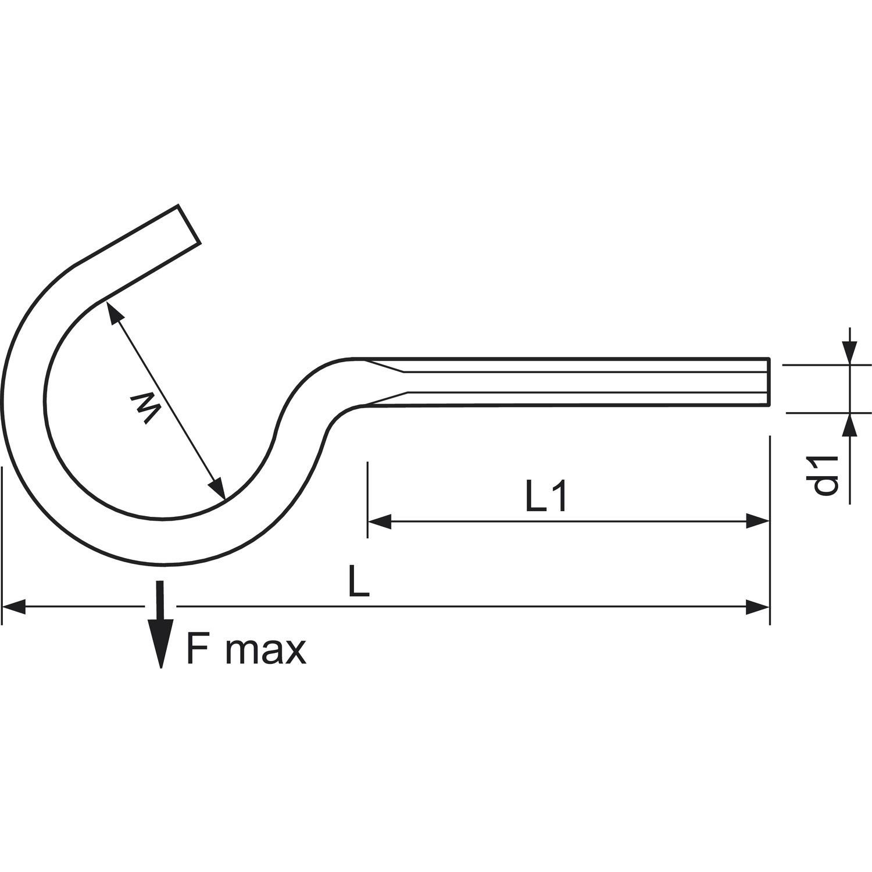 hák M6x50 ZINEK otevřený