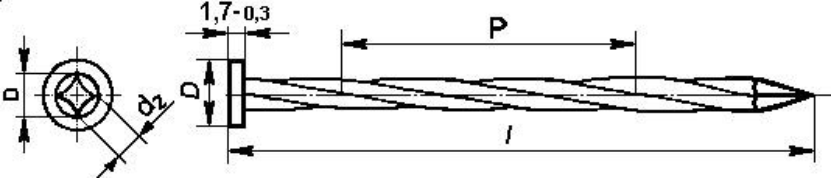 hřebík 90/3.5 BEZ PÚ kroucený