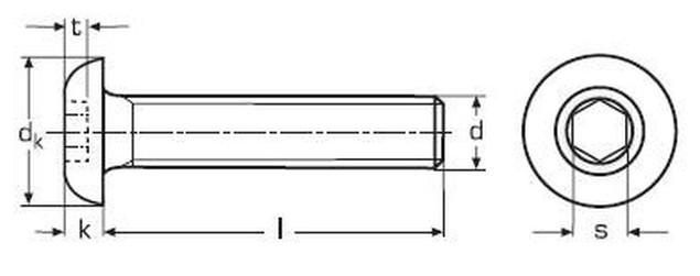 imbus M6x10 POMOSAZENÝ 10.9 půlkulatá hlava ISO 7380-1