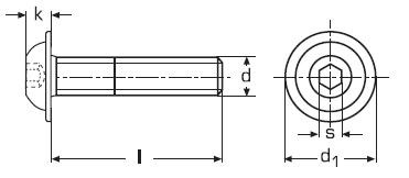 imbus M5x8 A2 NEREZ půlkulatá hlava límec ISO 7380-2