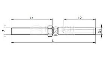 napínák M20 pr. 10mm A4 NEREZ svorník s maticí a rovný konec