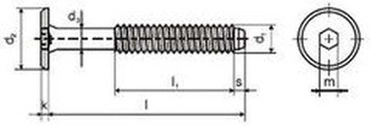 šroub M6x60 ČERNÝ ZINEK nábytkářský 17mm hlava plochá na imbus