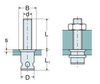 nýtovací šroub M8x15 zápustná hlava 1.5-4