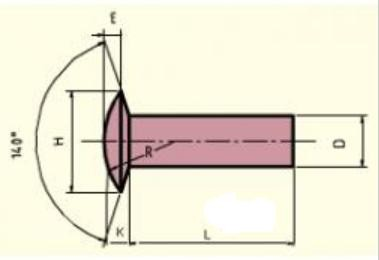 nýt 5x14 Fe-ocel čočková hlava ČSN 2315.20