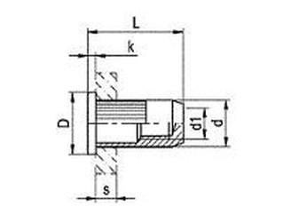 nýtovací matice OTEVŘENÁ M6x17.5 ZINEK plochá rýhovaná hlava rýhované tělo (s= 3.5-6.0 mm)