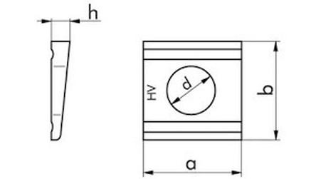 podložka M16 pr. 17x32x36x5.9 ŽÁROVÝ ZINEK C45 klínová 8% DIN 6918