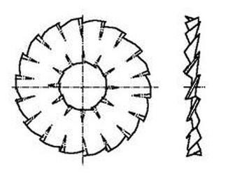 podložka M10 pr. 10.5x26x1.2 ZINEK vějířová dvojité (vnitřní a vnější) ozubení DIN 6798DD