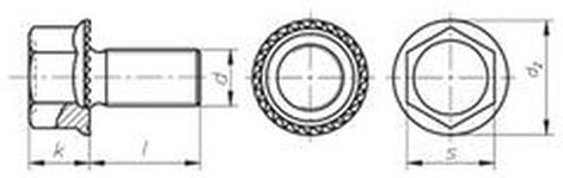 šroub M16x30 BEZ PÚ cl.100 RIPP ozubený límec, šestihranná hlava