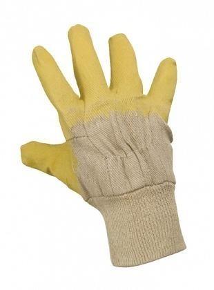 Rukavice DETA máčené v latexu bílo-žluté vel.10