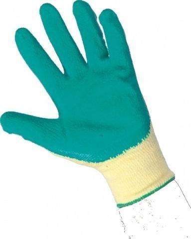 Rukavice ROXY, polomáčené v latexu, vel.10 žluto-zelené