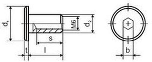 spojovací článek M6x12 A2 NEREZ 1.4301 15 hlava Typ RFL