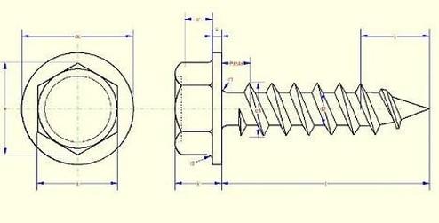šroub do plechu 4.8x16 ZINEK 6 hranná hlava+limec DIN 6928C