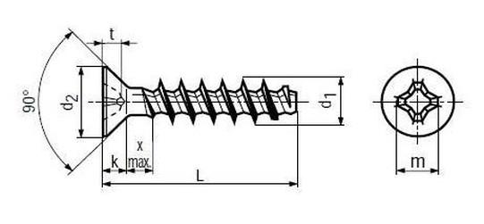 šroub 2.2x6 ZINEK do plastu zápustná hlava křížová drážka BN 13576