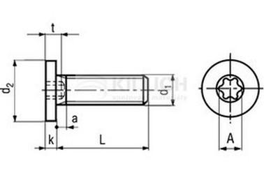 šroub M8x16 ZINEK 8.8 extrémně nízká hlava TORX