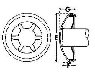 podložka pr. 10x19.8x5.8 Fe-ocel StarLock+čepička kulatá lakovaná