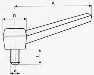 páčka M12x21.5 černá upínací