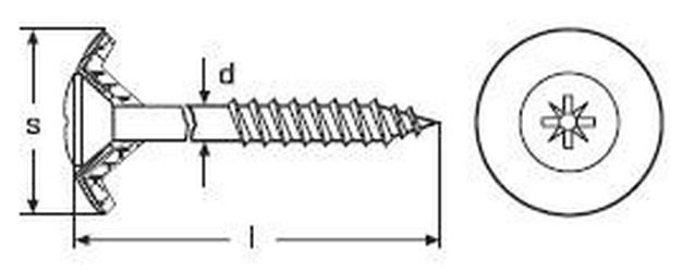 vrut 4.5x65 čočková hlava, křížová drážka A2 NEREZ +podložka 15 klempířský Art:9067/2-2-0