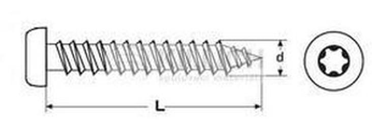 vrut 4.5x16 ŽLUTÝ ZINEK půlkulatá hlava TORX 20, celý závit