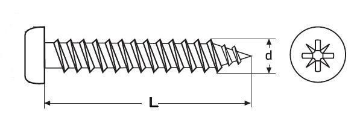 vrut 5.0x16 BÍLÝ ZINEK půlkulatá hlava, křížová drážka, DIN 7505B